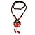 Handmade Red, Brown, Black Ceramic Bead Tassel Brown Silk Cord Necklace - 80cm Long/ 9cm Tassel - view 6