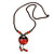 Handmade Red, Brown, Black Ceramic Bead Tassel Brown Silk Cord Necklace - 80cm Long/ 9cm Tassel - view 8