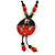 Handmade Red, Brown, Black Ceramic Bead Tassel Brown Silk Cord Necklace - 80cm Long/ 9cm Tassel