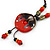 Handmade Red, Brown, Black Ceramic Bead Tassel Brown Silk Cord Necklace - 80cm Long/ 9cm Tassel - view 9