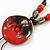 Handmade Red, Brown, Black Ceramic Bead Tassel Brown Silk Cord Necklace - 80cm Long/ 9cm Tassel - view 3