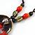 Handmade Red, Brown, Black Ceramic Bead Tassel Brown Silk Cord Necklace - 80cm Long/ 9cm Tassel - view 4