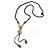 Long Beige/ Light Blue Ceramic Bead Tassel Necklace with Brown Cotton Cord - 80cm L/ 10cm Tassel