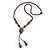 Long Multicoloured Ceramic Bead Tassel Necklace with Silk Cotton Cord - 80cm L/ 10cm Tassel