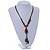 Long Multicoloured Ceramic Bead Tassel Cord Necklace - 58cm to 80cm Long (Adjustable) - view 2