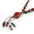 Long Multicoloured Ceramic Bead Tassel Cord Necklace - 58cm to 80cm Long (Adjustable) - view 4