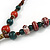 Long Multicoloured Ceramic Bead Tassel Cord Necklace - 58cm to 80cm Long (Adjustable) - view 6