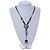 Light Blue/ Brown Ceramic Bead Tassel Necklace with Brown Cotton Cords - 60cm L - 80cm L (adjustable)/ 13cm Tassel - view 2