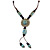Light Blue/ Brown Ceramic Bead Tassel Necklace with Brown Cotton Cords - 60cm L - 80cm L (adjustable)/ 13cm Tassel - view 3