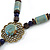 Light Blue/ Brown Ceramic Bead Tassel Necklace with Brown Cotton Cords - 60cm L - 80cm L (adjustable)/ 13cm Tassel - view 5