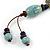 Light Blue/ Brown Ceramic Bead Tassel Necklace with Brown Cotton Cords - 60cm L - 80cm L (adjustable)/ 13cm Tassel - view 6