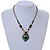 Romantic Floral Glass Pendant with Beaded Chain Necklace (Green/ Black/ Champagne) - 44cm L - view 2