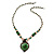 Romantic Floral Glass Pendant with Beaded Chain Necklace (Green/ Black/ Champagne) - 44cm L - view 3