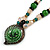 Romantic Floral Glass Pendant with Beaded Chain Necklace (Green/ Black/ Champagne) - 44cm L - view 4