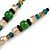 Romantic Floral Glass Pendant with Beaded Chain Necklace (Green/ Black/ Champagne) - 44cm L - view 5