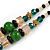 Romantic Floral Glass Pendant with Beaded Chain Necklace (Green/ Black/ Champagne) - 44cm L - view 6