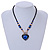 Blue/ Black/ Champagne Crystal, Ceramic, Glass Bead Heart Necklace - 44cm L - view 2