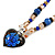 Blue/ Black/ Champagne Crystal, Ceramic, Glass Bead Heart Necklace - 44cm L - view 4
