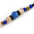 Blue/ Black/ Champagne Crystal, Ceramic, Glass Bead Heart Necklace - 44cm L - view 5