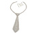 Star Quality Clear Austrian Crystal with Heart Motif Tie Necklace In Silver Tone Metal - 32cm L/ 17cm Ext /16cm Tie - view 9