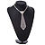 Star Quality Clear Austrian Crystal with Heart Motif Tie Necklace In Silver Tone Metal - 32cm L/ 17cm Ext /16cm Tie - view 2