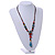 Blue/ Black/ Red Ceramic, Brown Wood Bead with Silk Cords Necklace - 56cm to 80cm Long/ Adjustable - view 2