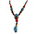 Blue/ Black/ Red Ceramic, Brown Wood Bead with Silk Cords Necklace - 56cm to 80cm Long/ Adjustable - view 3