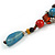 Blue/ Black/ Red Ceramic, Brown Wood Bead with Silk Cords Necklace - 56cm to 80cm Long/ Adjustable - view 4