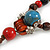 Blue/ Black/ Red Ceramic, Brown Wood Bead with Silk Cords Necklace - 56cm to 80cm Long/ Adjustable - view 6
