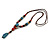 Blue/ Black/ Red Ceramic, Brown Wood Bead with Silk Cords Necklace - 56cm to 80cm Long/ Adjustable - view 9
