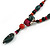Green/ Black/ Red Ceramic, Brown Wood Bead with Silk Cords Necklace - 56cm to 80cm Long/ Adjustable - view 4