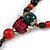 Green/ Black/ Red Ceramic, Brown Wood Bead with Silk Cords Necklace - 56cm to 80cm Long/ Adjustable - view 5