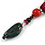 Green/ Black/ Red Ceramic, Brown Wood Bead with Silk Cords Necklace - 56cm to 80cm Long/ Adjustable - view 6
