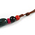 Green/ Black/ Red Ceramic, Brown Wood Bead with Silk Cords Necklace - 56cm to 80cm Long/ Adjustable - view 8