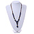 Blue, Black Ceramic Bead with Brown Silk Cords Necklace - 56cm to 80cm Long/ Adjustable - view 3