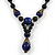 Blue, Black Ceramic Bead with Brown Silk Cords Necklace - 56cm to 80cm Long/ Adjustable - view 4