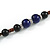 Blue, Black Ceramic Bead with Brown Silk Cords Necklace - 56cm to 80cm Long/ Adjustable - view 6
