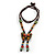 Bronze Tone, Multicoloured Ceramic Bead Butterfly Pendant with Brown Silk Cord Necklace - 76cm L/ 7cm Tassel - view 5