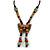 Bronze Tone, Multicoloured Ceramic Bead Butterfly Pendant with Brown Silk Cord Necklace - 76cm L/ 7cm Tassel