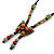 Bronze Tone, Multicoloured Ceramic Bead Butterfly Pendant with Brown Silk Cord Necklace - 76cm L/ 7cm Tassel - view 3