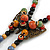 Bronze Tone, Multicoloured Ceramic Bead Butterfly Pendant with Brown Silk Cord Necklace - 76cm L/ 7cm Tassel - view 4