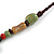 Bronze Tone, Multicoloured Ceramic Bead Butterfly Pendant with Brown Silk Cord Necklace - 76cm L/ 7cm Tassel - view 6