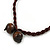 Bronze Tone, Multicoloured Ceramic Bead Butterfly Pendant with Brown Silk Cord Necklace - 76cm L/ 7cm Tassel - view 7