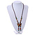 Bronze Tone, Multicoloured Ceramic Bead Butterfly Pendant with Brown Silk Cord Necklace - 76cm L/ 7cm Tassel - view 2