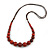 Burnt Orange Ceramic Bead Brown Silk Cords Necklace - Adjustable - 60cm to 70cm Long