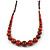 Burnt Orange Ceramic Bead Brown Silk Cords Necklace - Adjustable - 60cm to 70cm Long - view 4