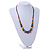 Multicoloured Ceramic Bead Brown Silk Cords Necklace - Adjustable - 60cm to 70cm Long - view 2
