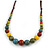 Multicoloured Ceramic Bead Brown Silk Cords Necklace - Adjustable - 60cm to 70cm Long - view 3