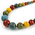 Multicoloured Ceramic Bead Brown Silk Cords Necklace - Adjustable - 60cm to 70cm Long - view 4