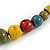 Multicoloured Ceramic Bead Brown Silk Cords Necklace - Adjustable - 60cm to 70cm Long - view 5